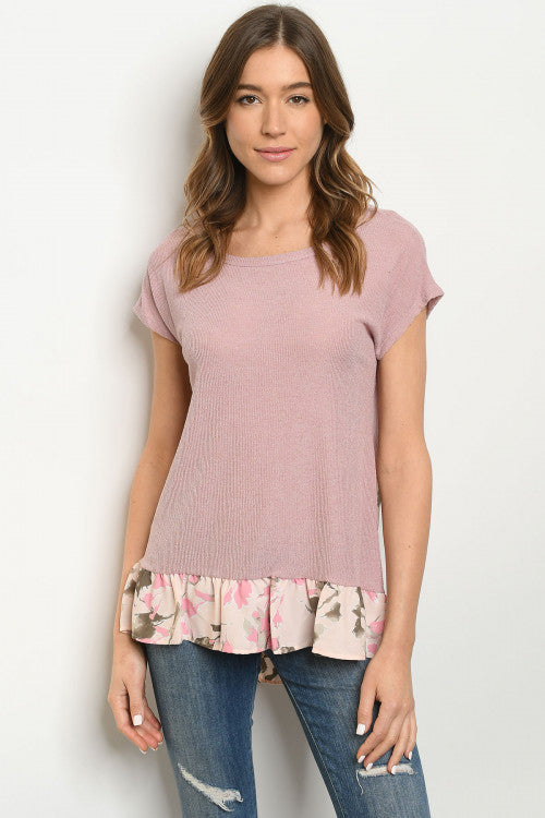 Blush Ruffle Back Print Top