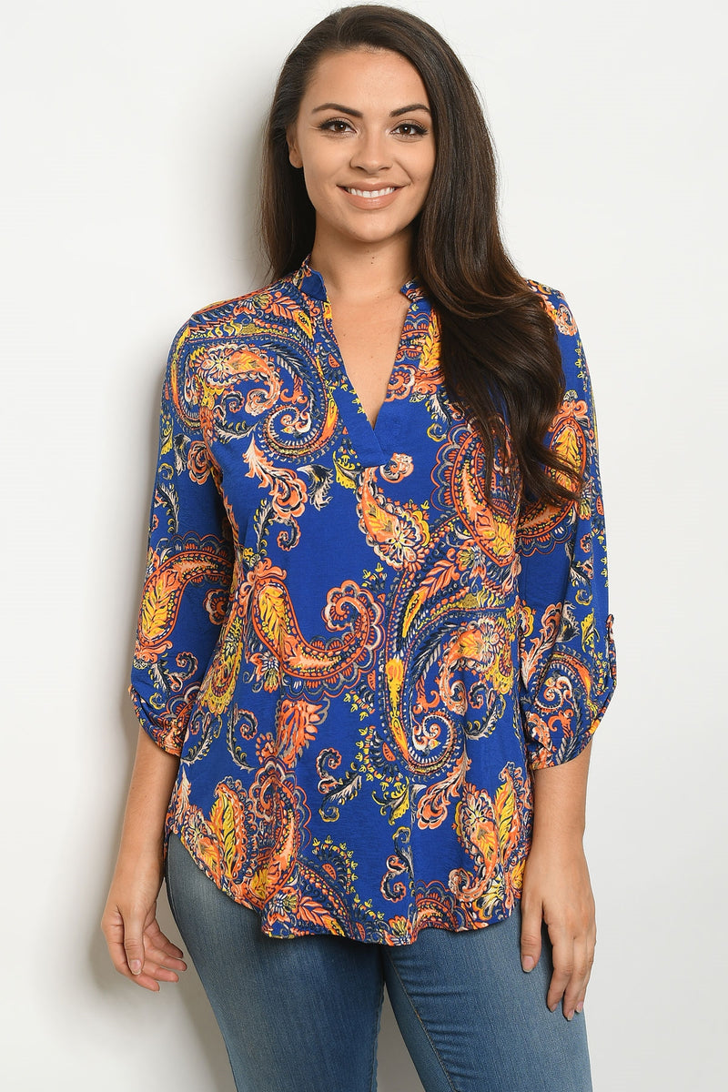 Royal Blue Paisley Roll Tab Top
