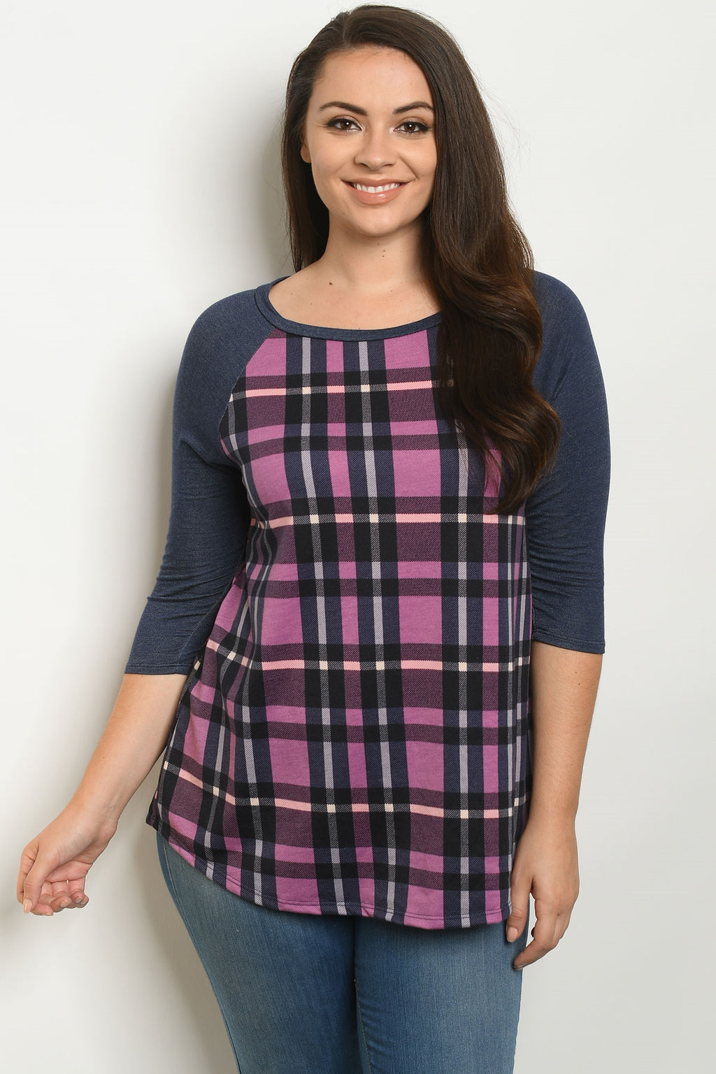 Navy & Pink Plaid Top