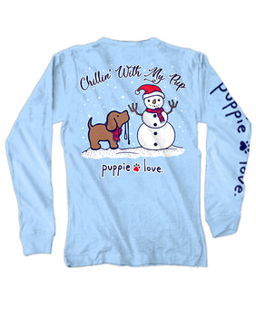 Chillin With My Pup Long Sleeve Tee By Puppie Love (Pre-Order 2-3 Weeks)