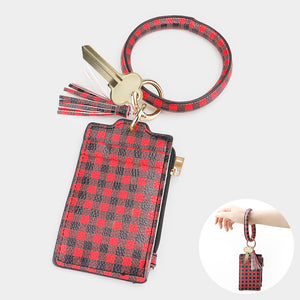 Red Buffalo Round Key Ring With Zip Purse