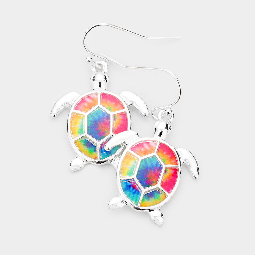 Turtle Tie Dye Dangle Earrings