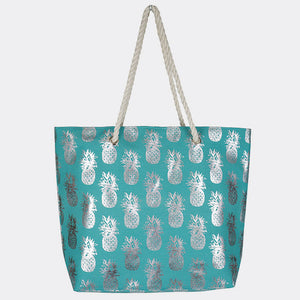 Aqua Pineapple Beach Bag
