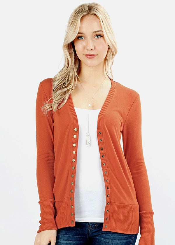 Snap Button Cardigan Color Spiced Pumpkin