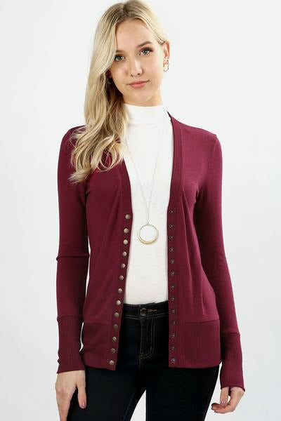 Snap Button Cardigan Color Wine
