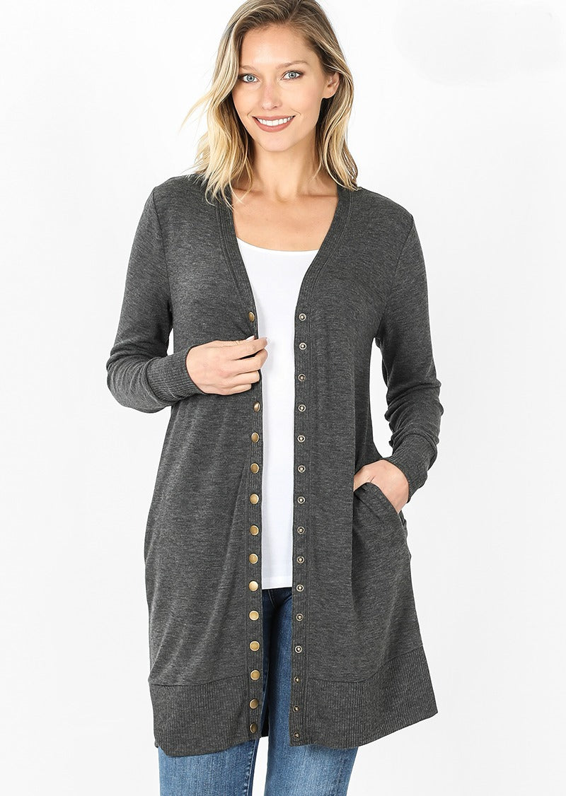 Long Snap Cardigan Color Charcoal