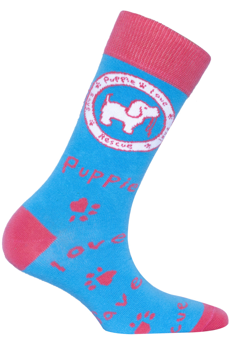 PUPPIE LOVE - ADULT CREW SOCK, IRIS LOGO PUP (Pre-Order 2 Weeks)
