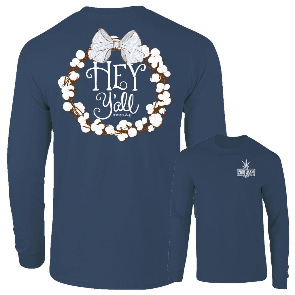 Southernology - Hey Y'all Cotton China Blue Long Sleeve (Lead Time 2 Weeks)