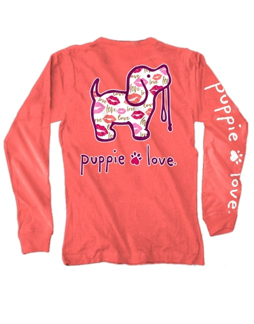 Love & Kisses Pup Long Sleeve Tee By Puppie Love (Pre-Order 2-3 Weeks)