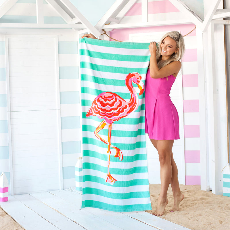 Flamingo Stripe Towel (Lead Time 2 Weeks)