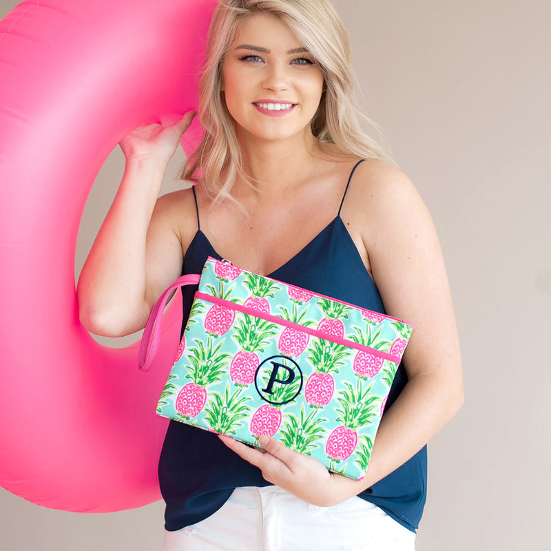 Sweet Paradise Monogram Zip Pouch Wristlet (Lead Time 2 Weeks)