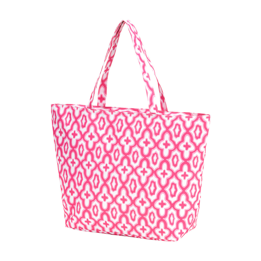 Hot Pink Monogram Mosaic Tote (Lead Time 2 Weeks)