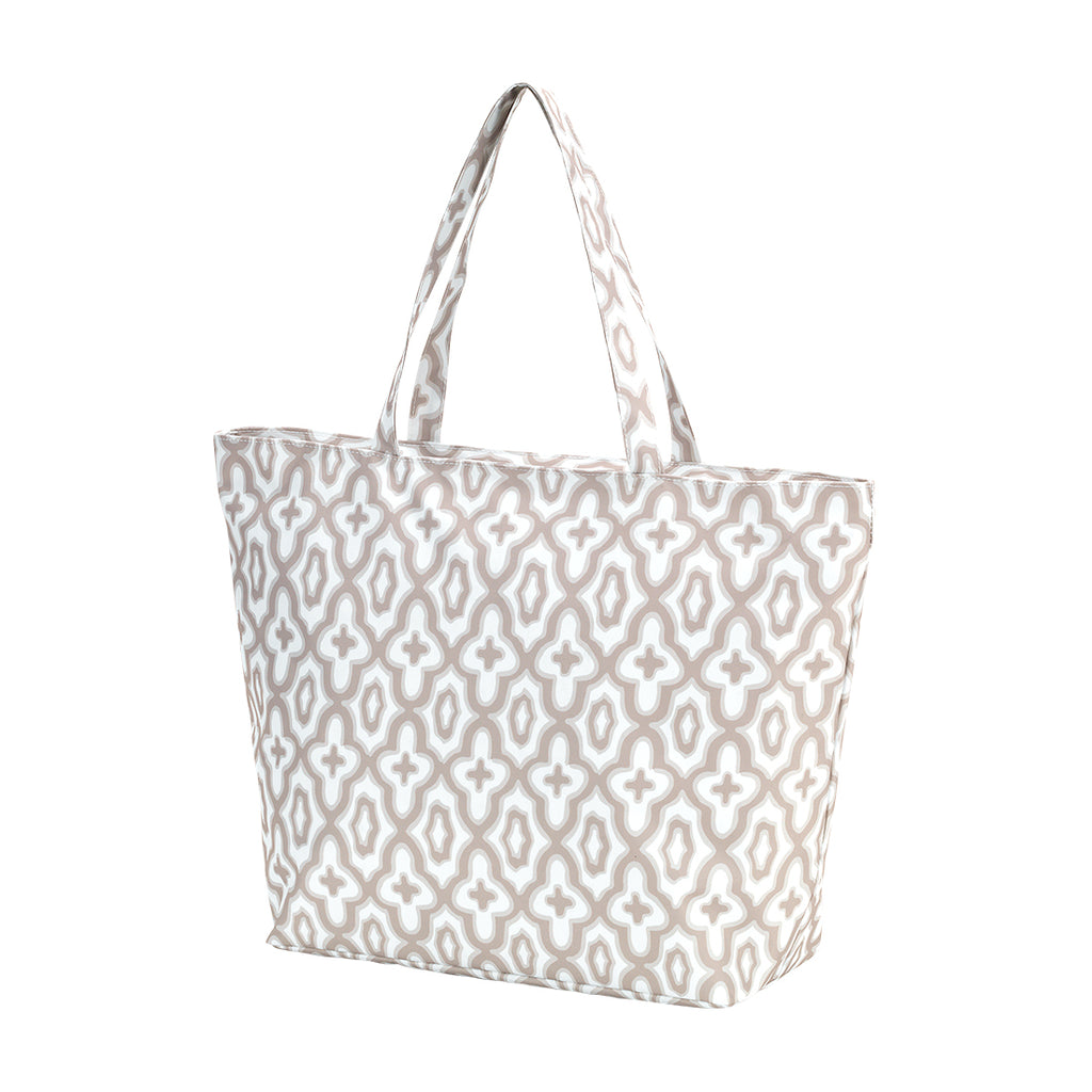 Tan Monogram Mosaic Tote (Lead Time 2 Weeks)