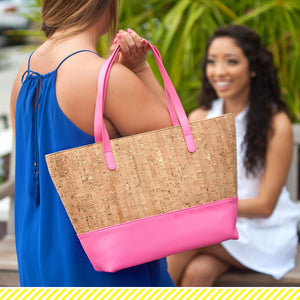 Hot Pink & Cork Charlotte Monogram Purse (Lead Time 2 Weeks)