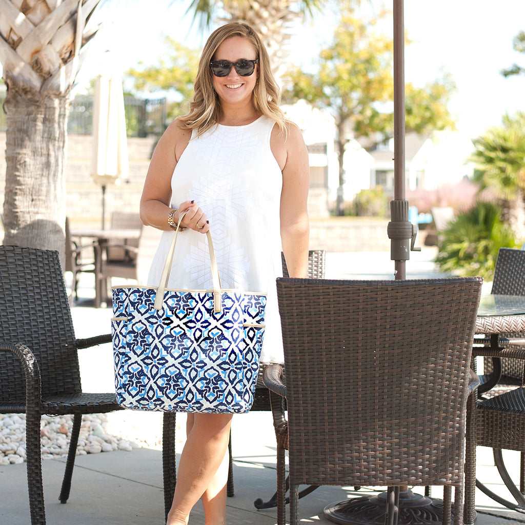 Sea Glass Monogram Hayden Tote (Lead Time 2 Weeks)