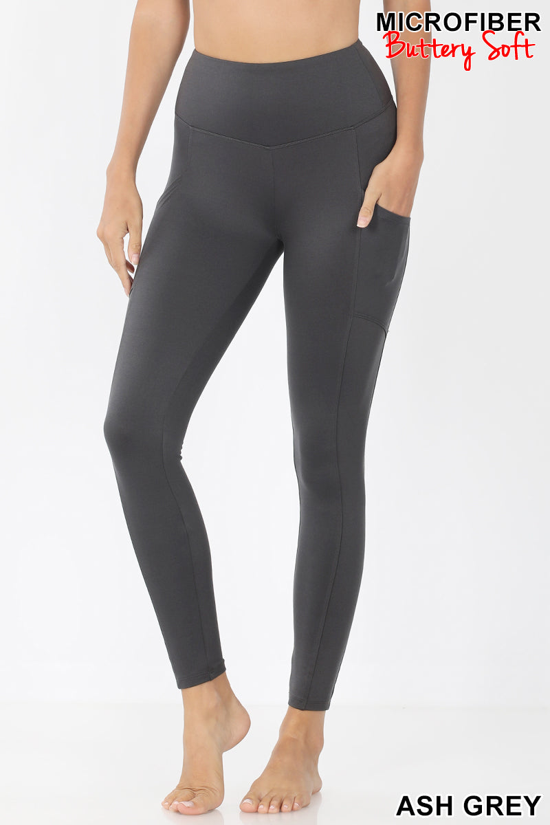 Soft Active Leggings With Side Pockets Color Ash Grey