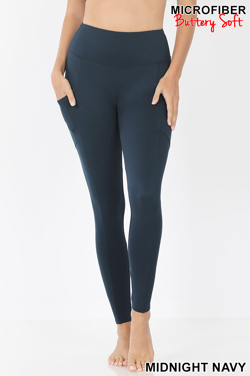 Soft Active Leggings With Side Pockets Color Midnight Navy