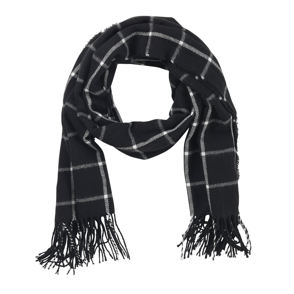 Black Plaid Adaline Scarf (Lead Time 2 Weeks)