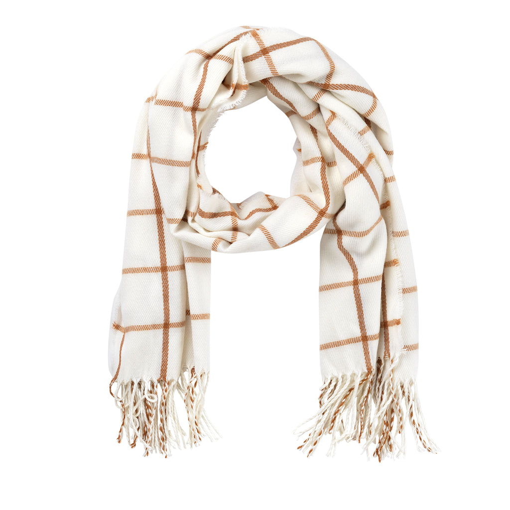 Camel Plaid Adaline Scarf (Lead Time 2 Weeks)