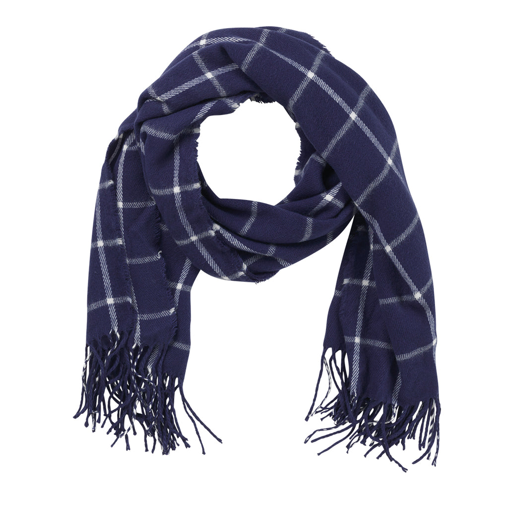 Navy Plaid Adaline Scarf (Lead Time 2 Weeks)