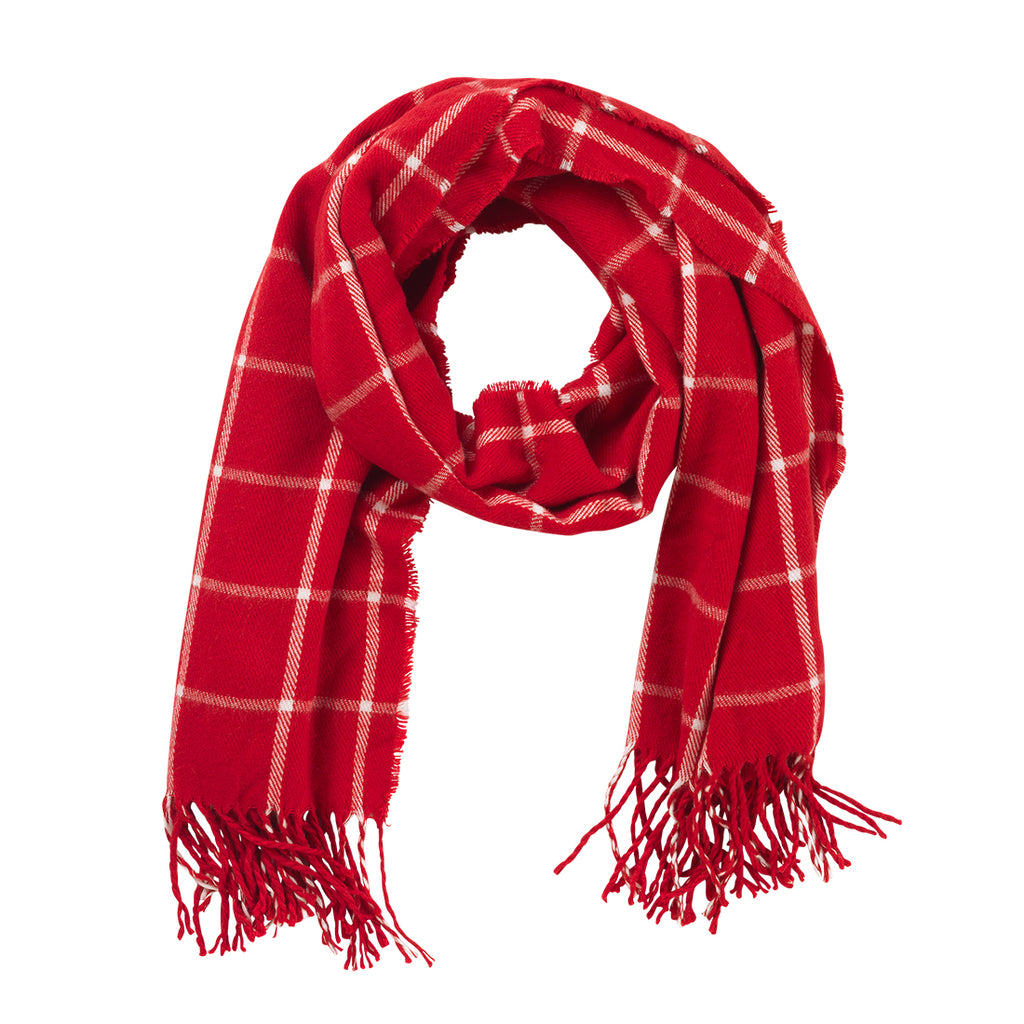 Red Plaid Adaline Scarf (Lead Time 2 Weeks)