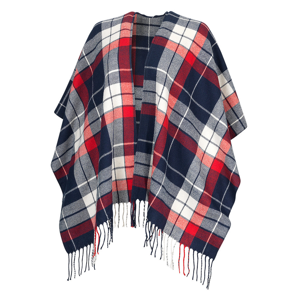 Red & Navy Plaid Kennedy Monogram Shawl (Lead Time 2 Weeks)