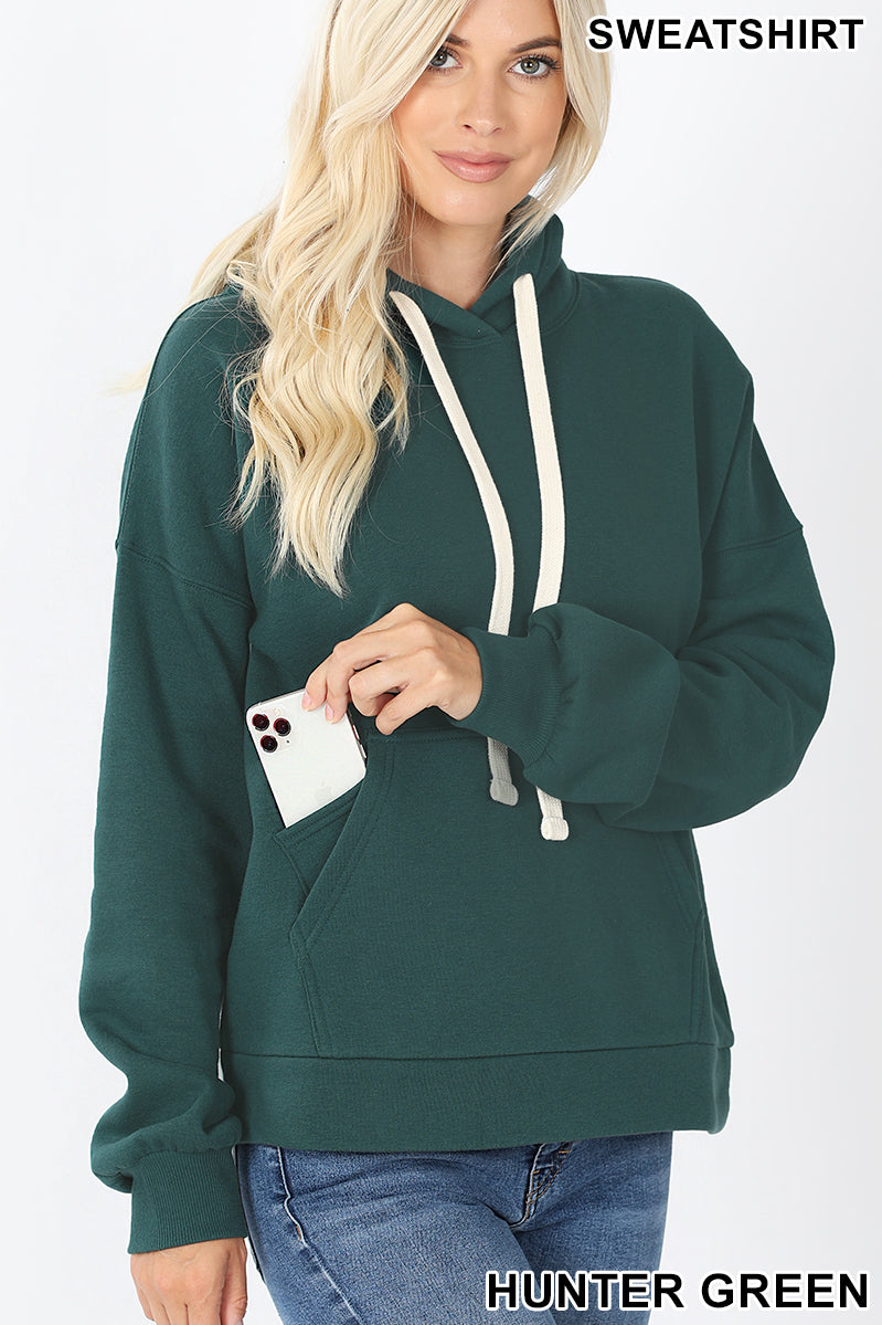Kangaroo Hoodie With Pocket For Cellphone Color Hunter Green