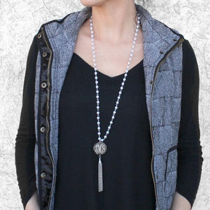 Monogram Silver Plated Pearl Tassel Necklace  (Lead Time 2 Weeks)