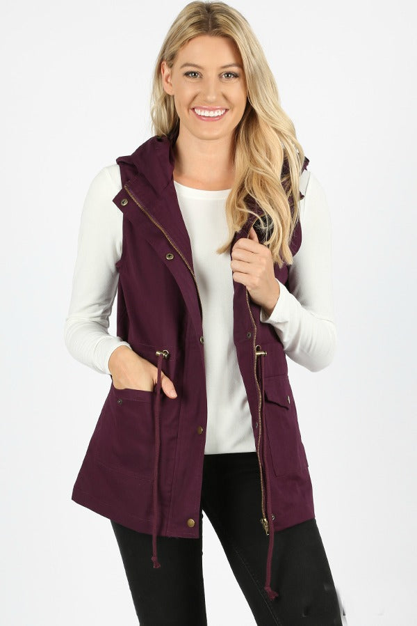Military Vest Color Plum Back In- Stock