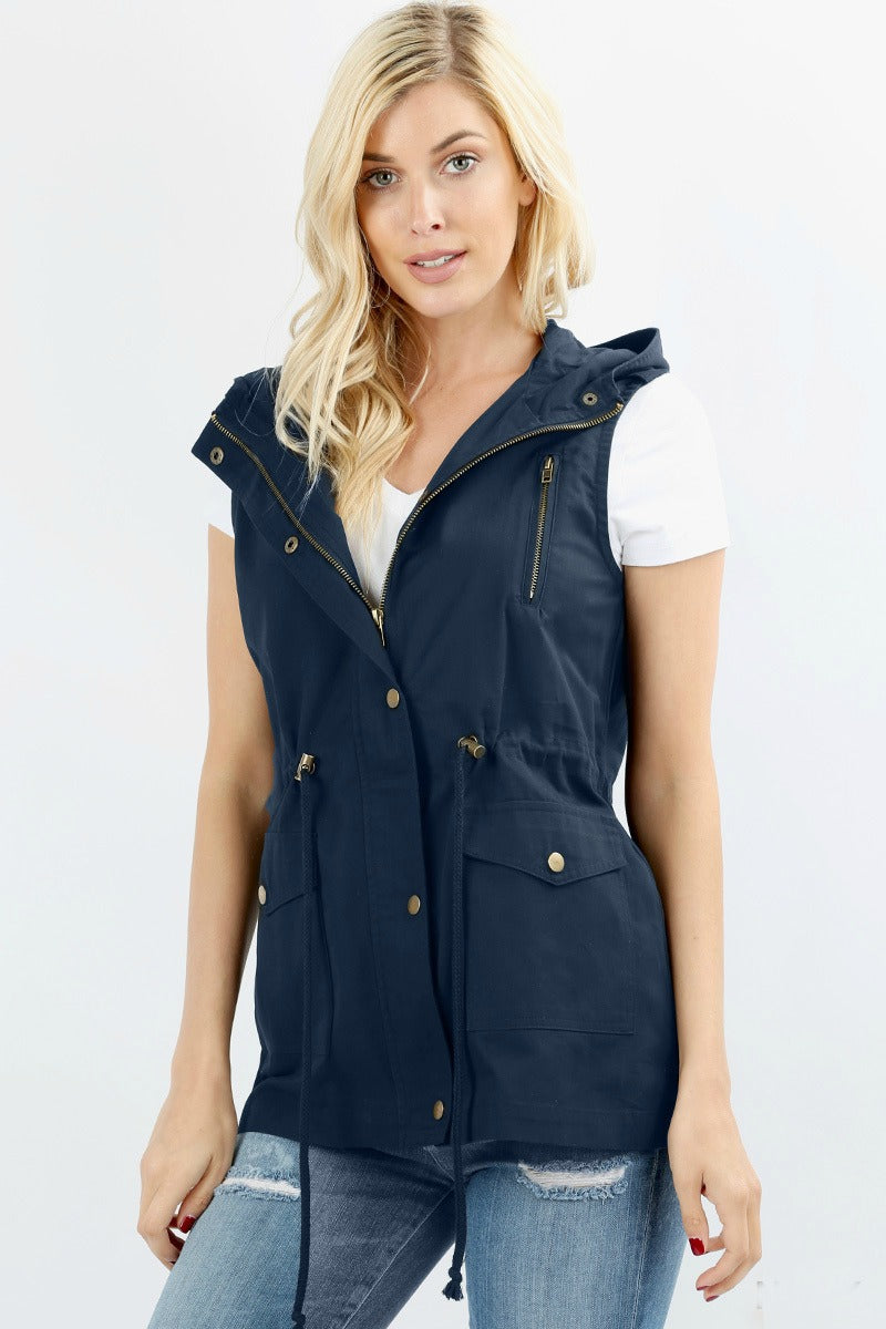 Military Vest Color Navy Back In-Stock