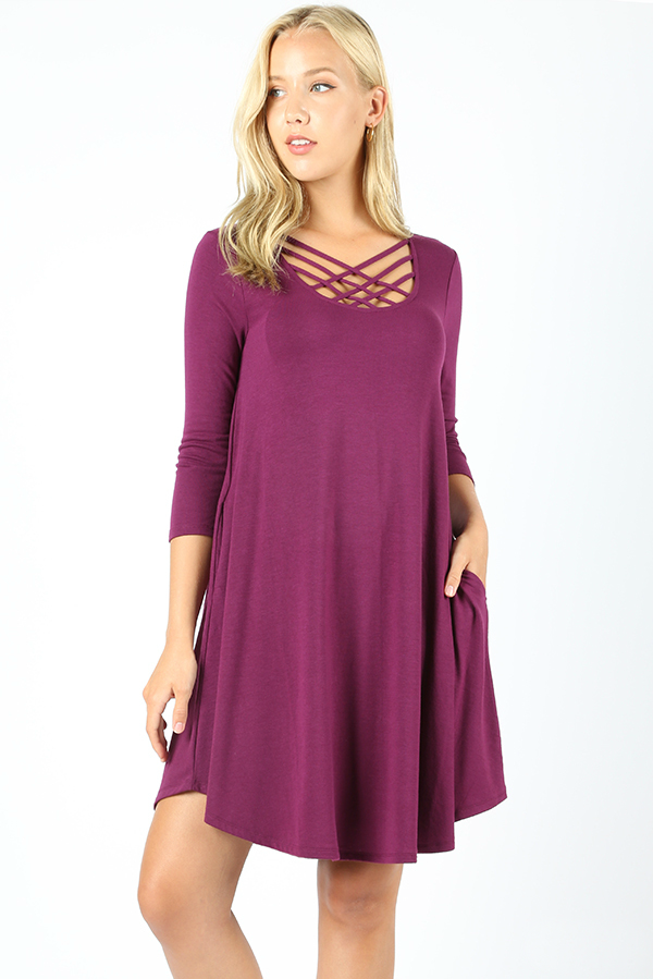 Cross My Heart Dress Color Plum