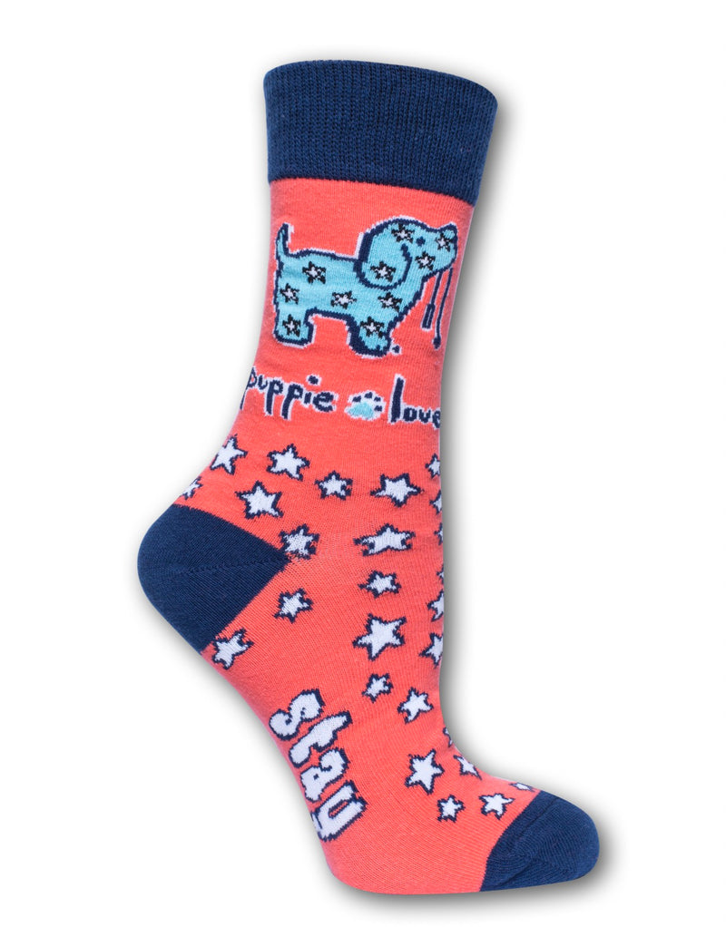 Puppie Love - Adult Crew Sock, Stay Pawsitive Pup (Pre-Order 2-3 Weeks)