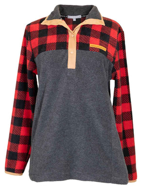 Buffalo Plaid Fleece Pullover by Simply Southern