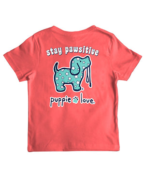 Youth Stay Pawsitive Pup Short Sleeve By Puppie Love (Pre-Order 2-3 Weeks)