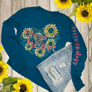Southernology - Long Sleeve Sunflower Bless Your Heart (Lead Time 2 Weeks)