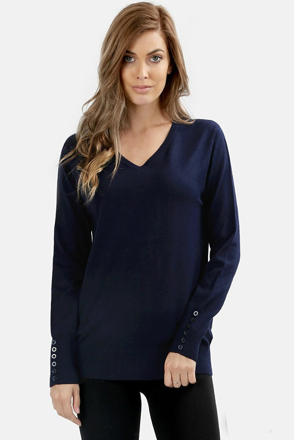 Everyday V-Neck Button Sweater Color Navy