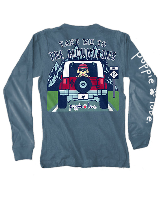 Take Me To The Mountains Pup Pup Long Sleeve By Puppie Love (Pre-Order 2 Weeks)