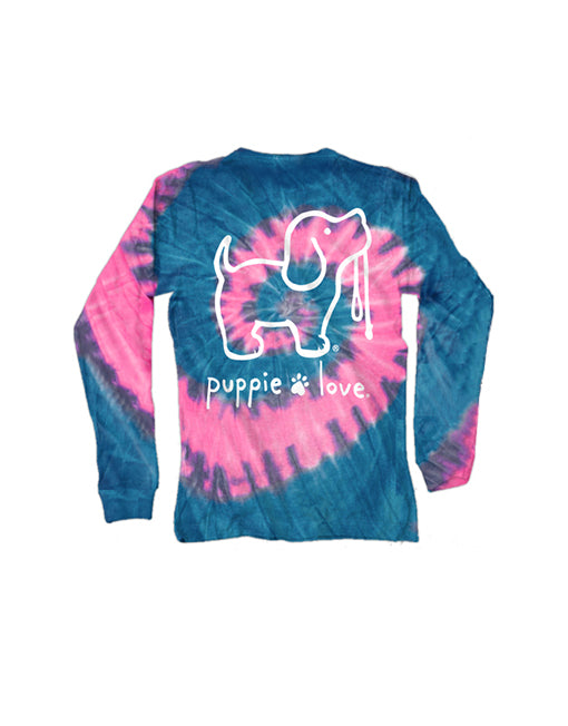 Youth Bubble Gum Tie Dye Pup Long Sleeve By Puppie Love (Pre-Order 2-3 Weeks)