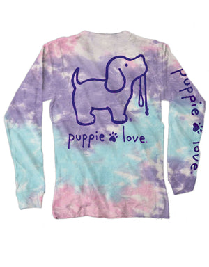 Cotton Candy Tie Dye Pup Pup Long Sleeve By Puppie Love (Pre-Order 2-3 Weeks)