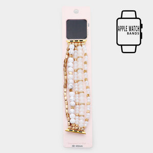 Beaded Apple Watch Band Colors White & Gold