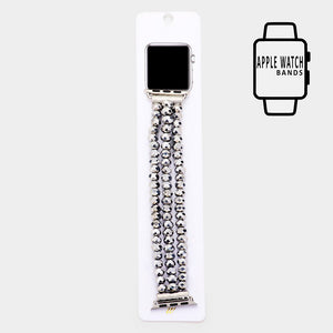 Beaded Apple Watch Band Color Metallic Silver