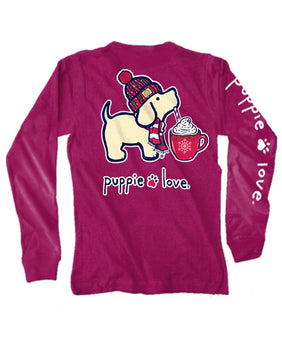 Hot Cocoa Pup Long Sleeve Tee By Puppie Love (Pre-Order 2-3 Weeks)