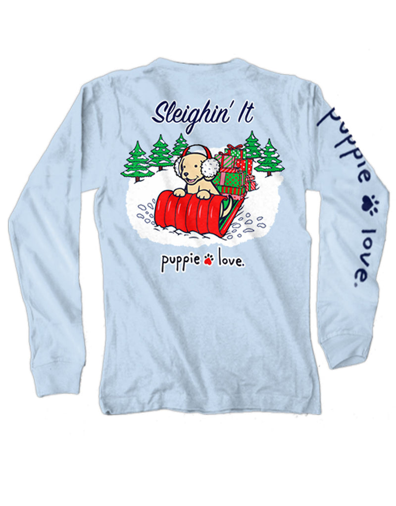 Sleighin' It Pup Long Sleeve Tee By Puppie Love (Pre-Order 2-3 Weeks)