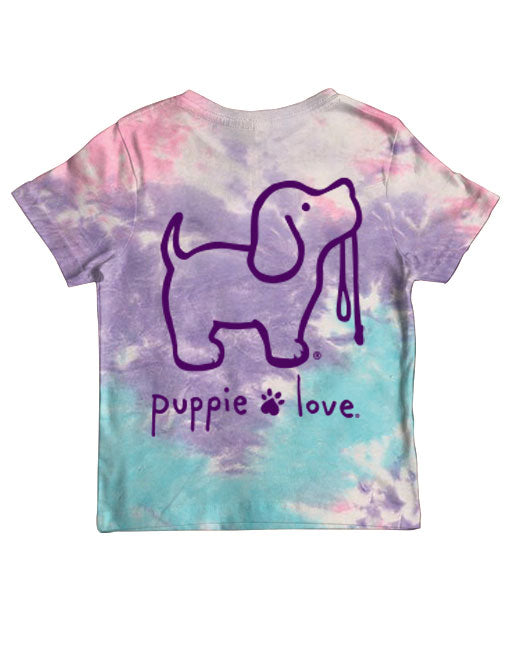Youth Cotton Candy Tie Dye Pup Short Sleeve By Puppie Love (Pre-Order 2-3 Weeks)