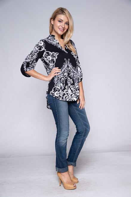 Black Damask Roll Tab Sleeve Top