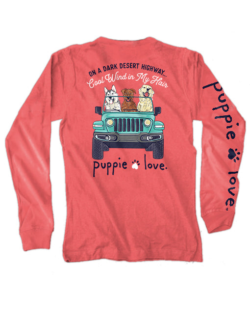 Wind In My Hair Pup Long Sleeve Tee By Puppie Love (Pre-Order 2-3 Weeks)