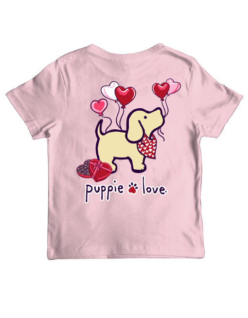 Youth Heart Balloons Pup Short Sleeve By Puppie Love (Pre-Order 2-3 Weeks)