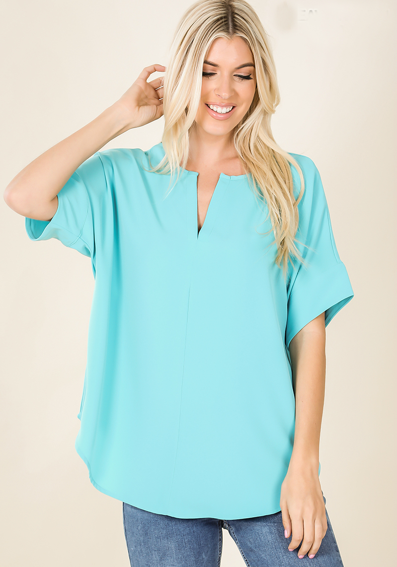 Mint Split Neck Woven Top