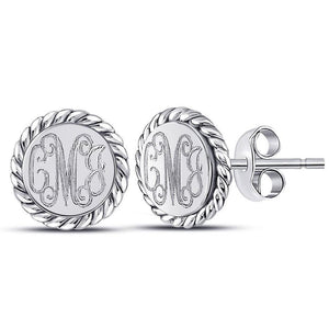 Round Rope Monogram Stud Earrings Sterling Silver (Lead Time 2 Weeks)