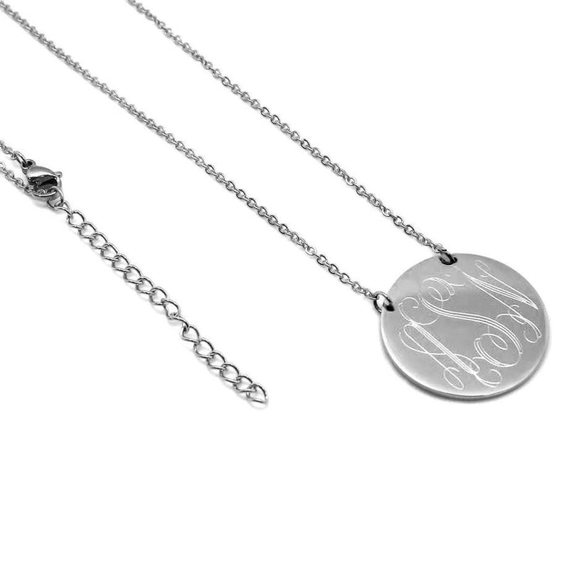 Round Monogram Disc Necklace Sterling Silver (Lead Time 2 Weeks)